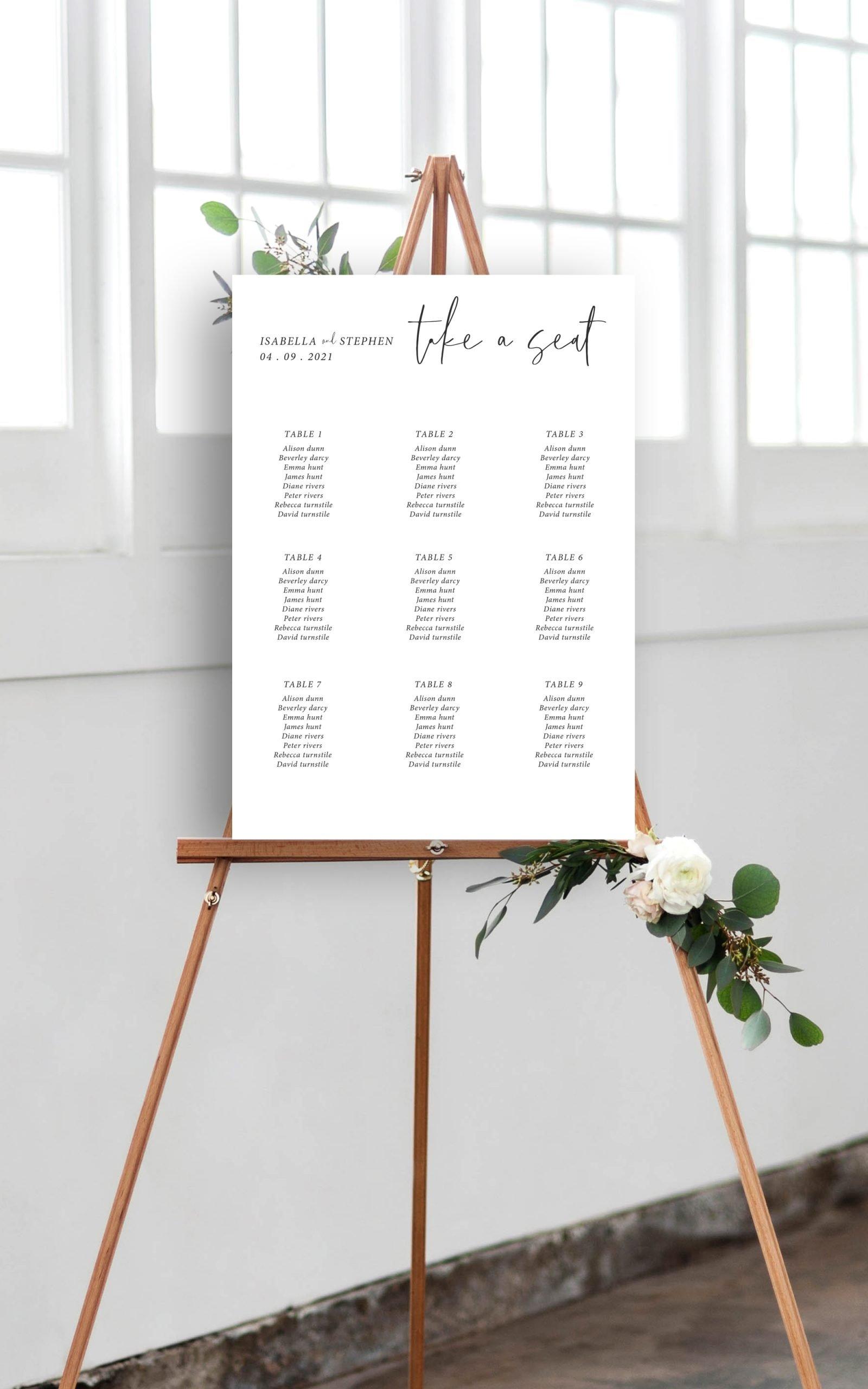 Minimo Minimalist Wedding Table Plan Black & White | Flamboyant Invites