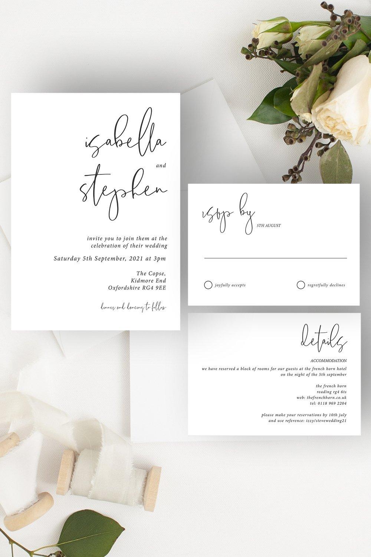 Minimo Minimalist Wedding Invitation Suite Black & White   Flamboyant Invites