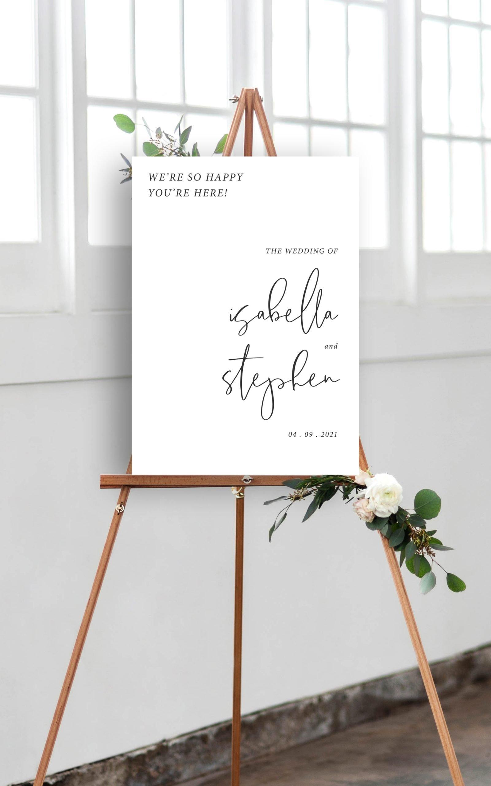 Minimo Minimalist Wedding Welcome Sign Black & White   Flamboyant Invites