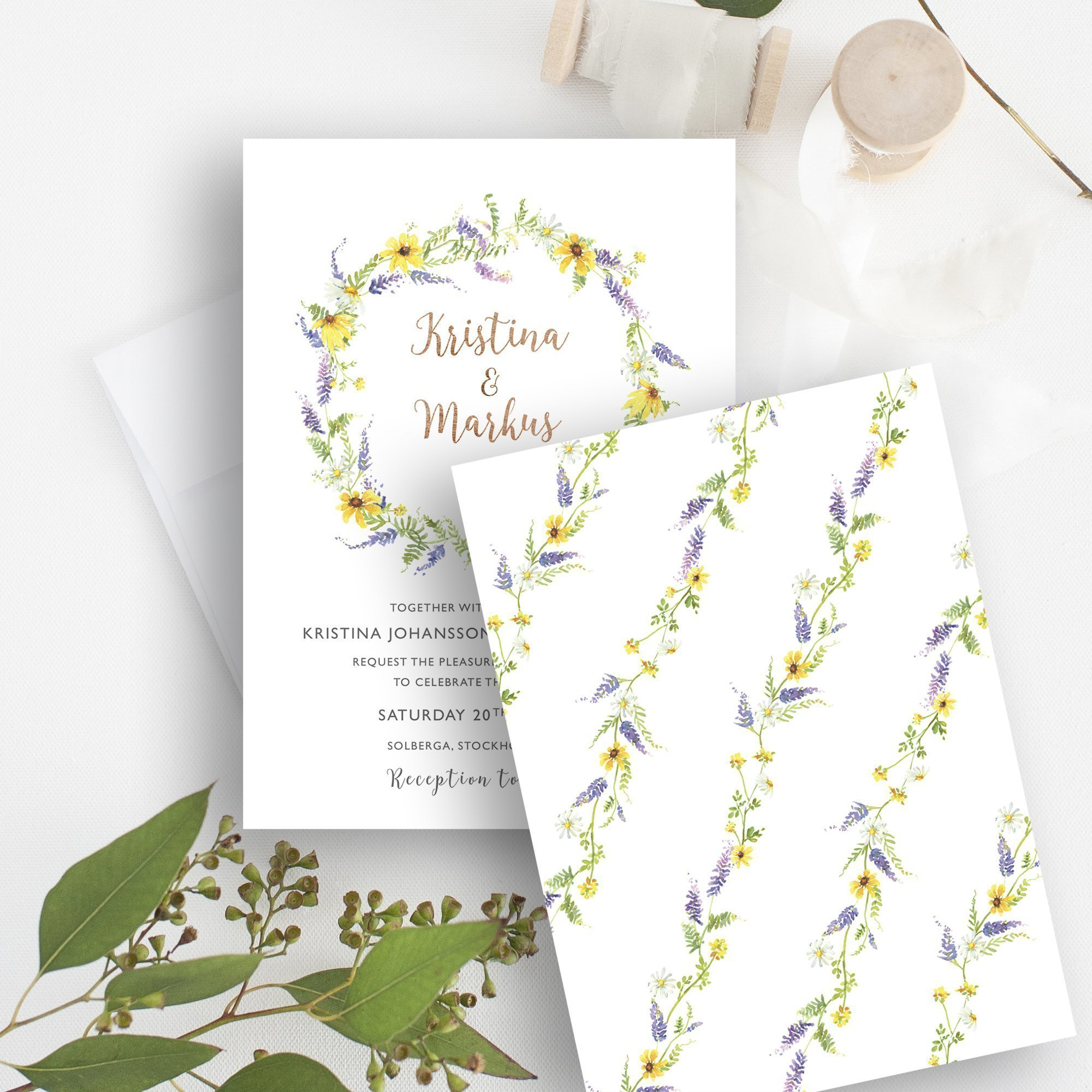 Bespoke Wildflower Wedding Invitation | Flamboyant Invites