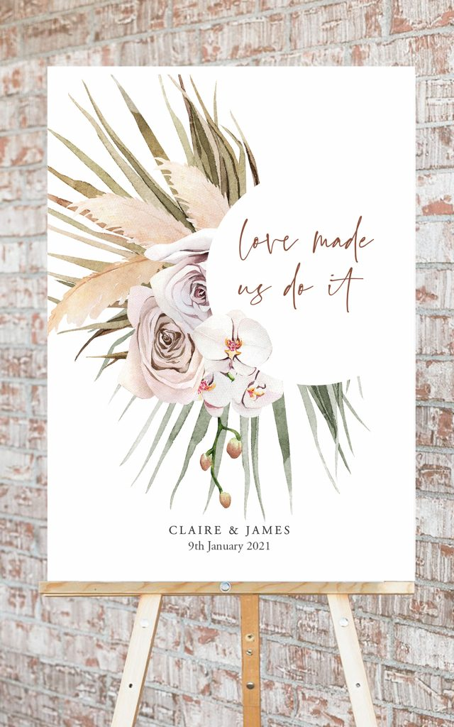 Boho Pampas Grass and Dried Palm Leaf Wedding Stationery | Flamboyant Invites