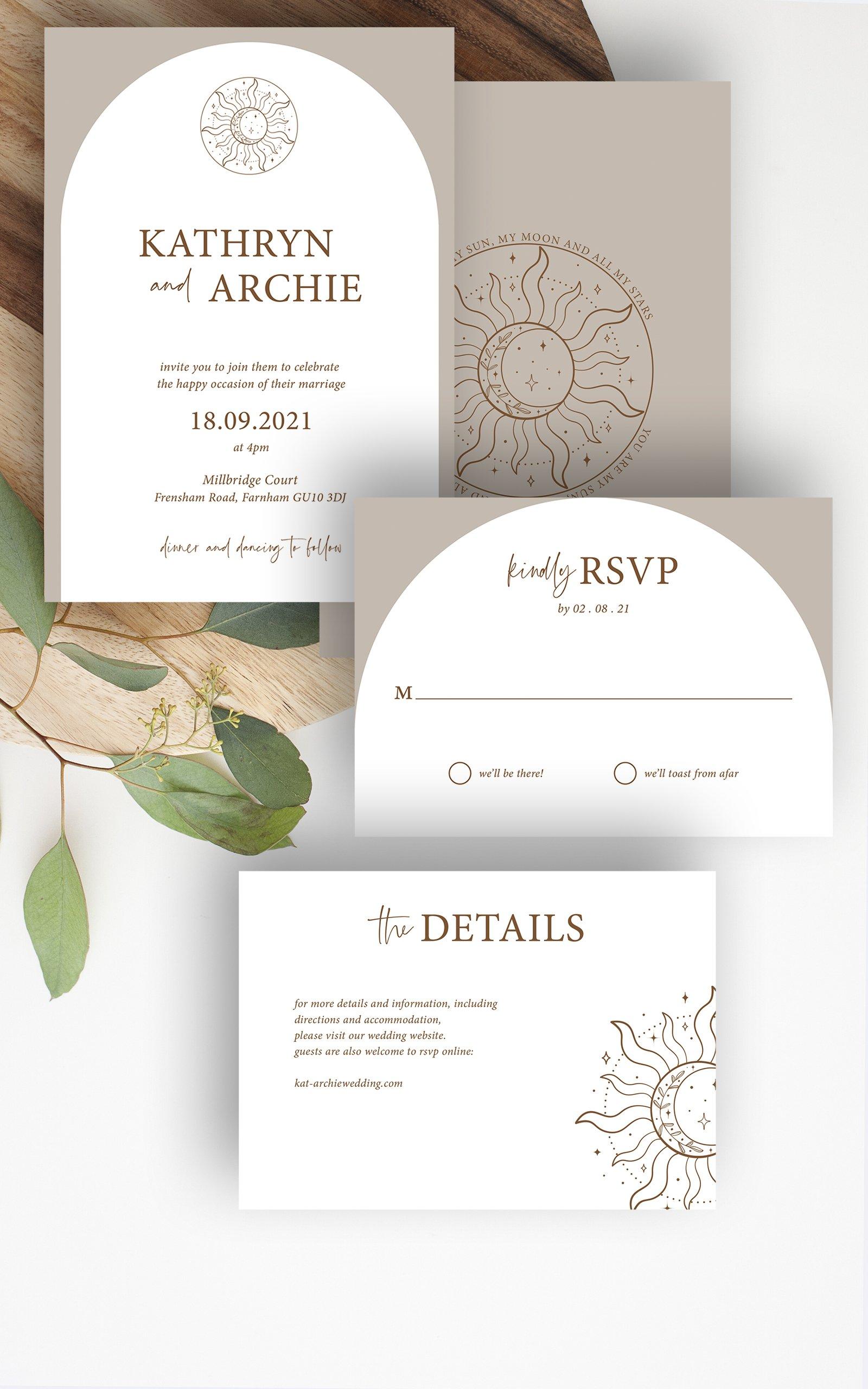 Skye Boho Arched Wedding Invitation Suite   Flamboyant Invites