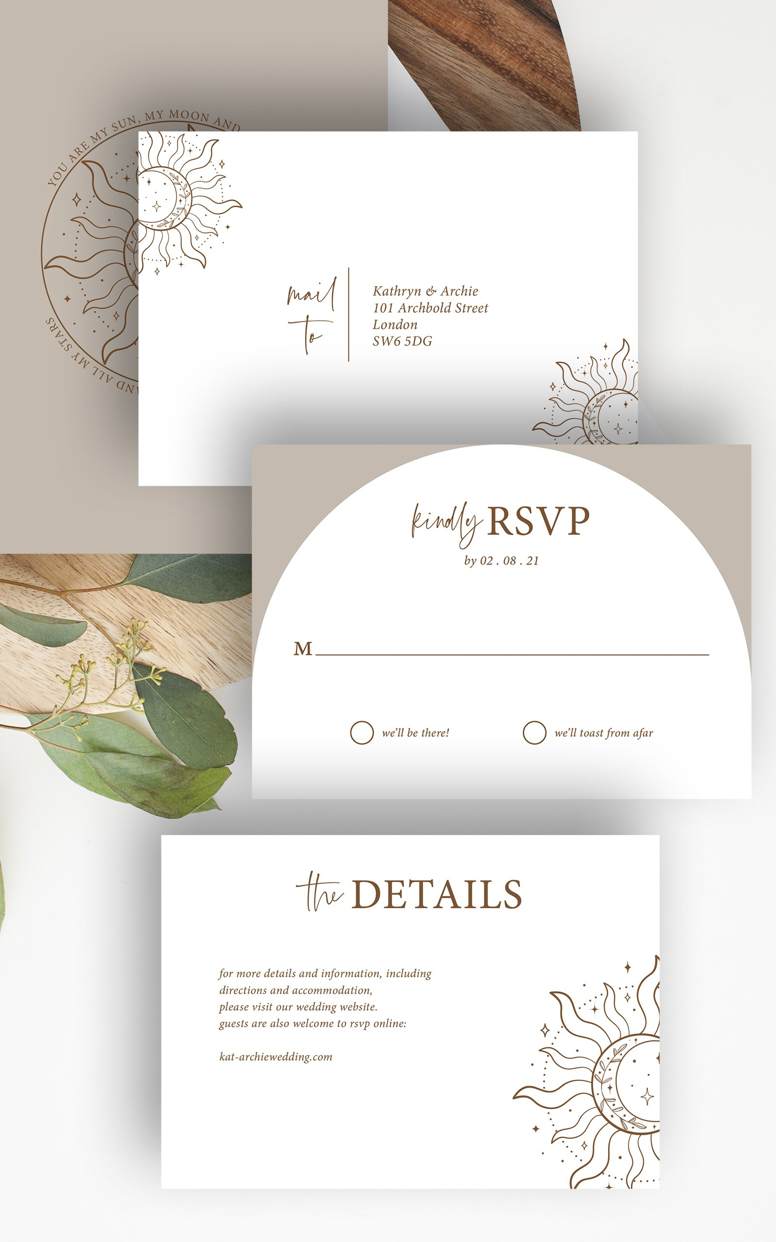 Skye Boho Arched Wedding RSVP Details Card   Flamboyant Invites