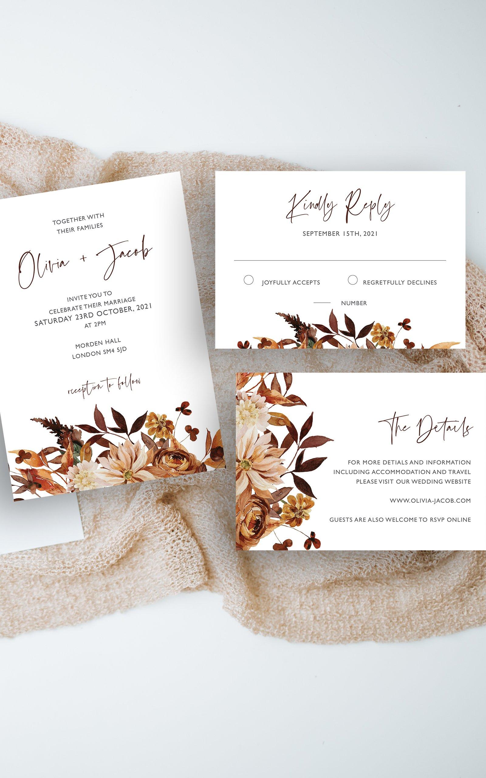 Boho Fall Floral Wedding Invitation Suite | Flamboyant Invites