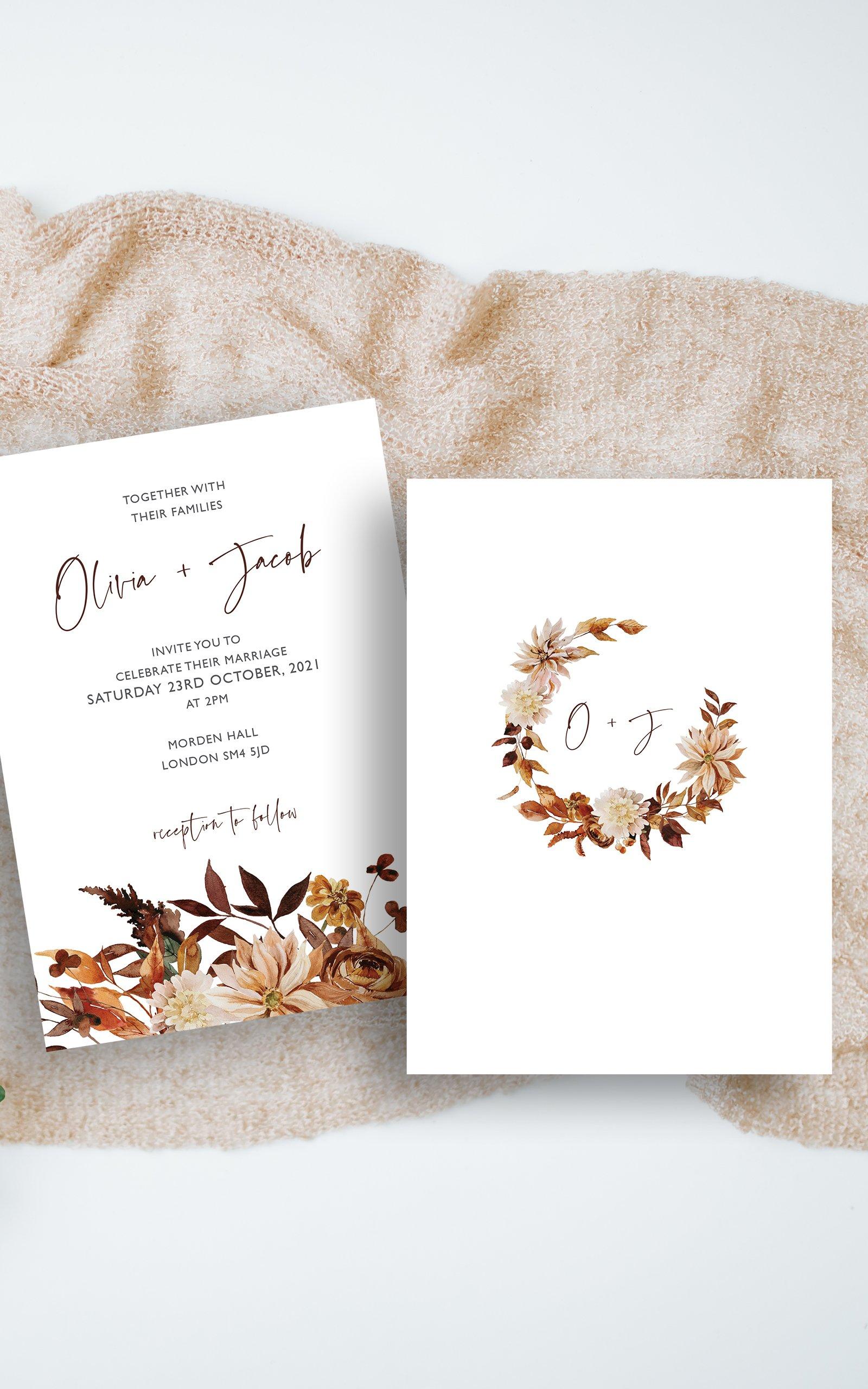 Boho Fall Floral Wedding Invitation | Flamboyant Invites