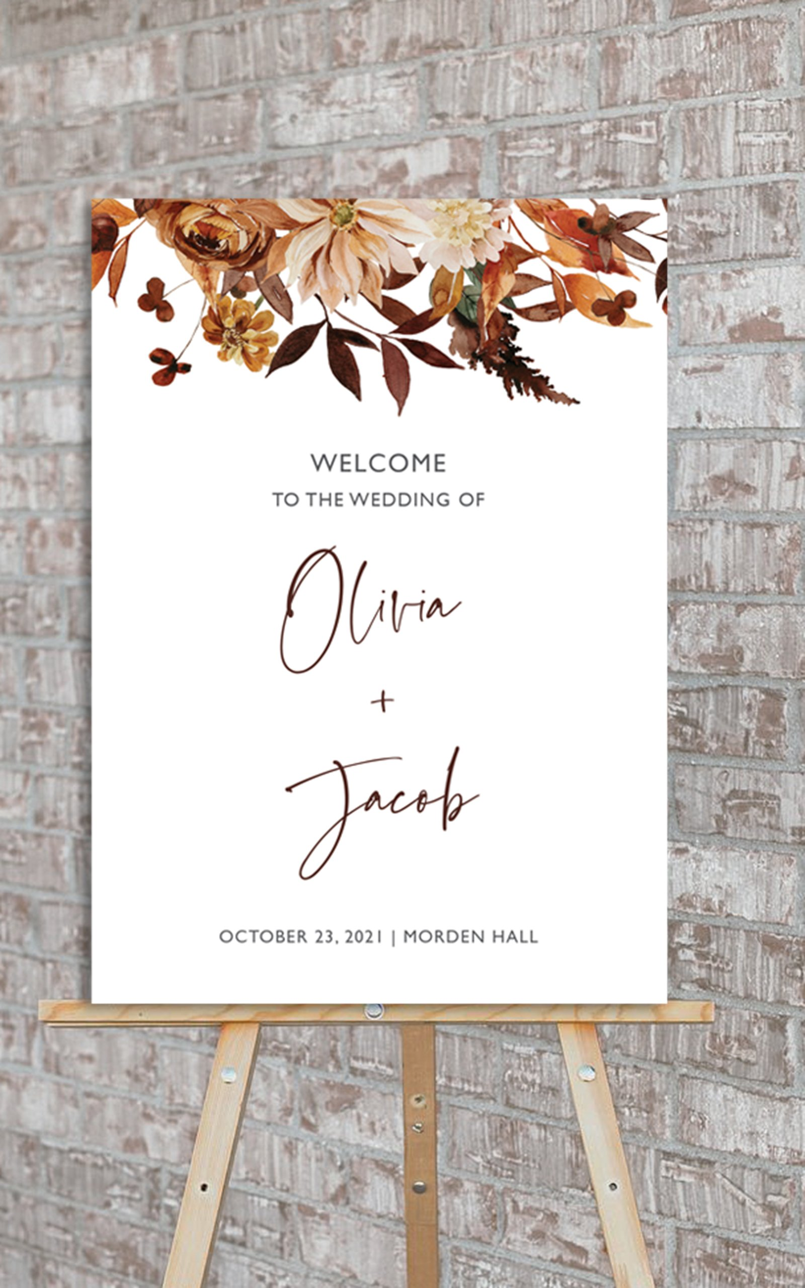 Boho Fall Floral Wedding Welcome Sign   Flamboyant Invites