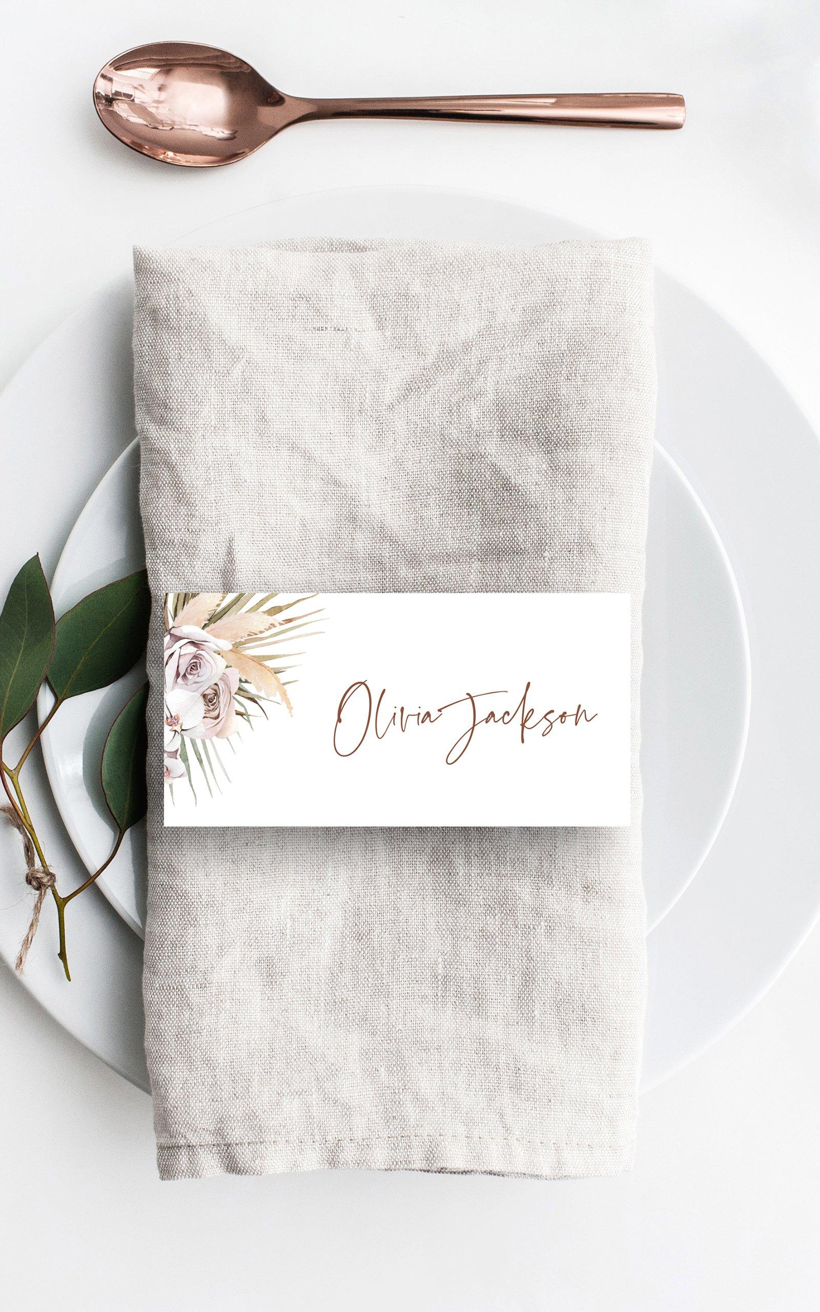 Boho Palm Place Card | Flamboyant Invites