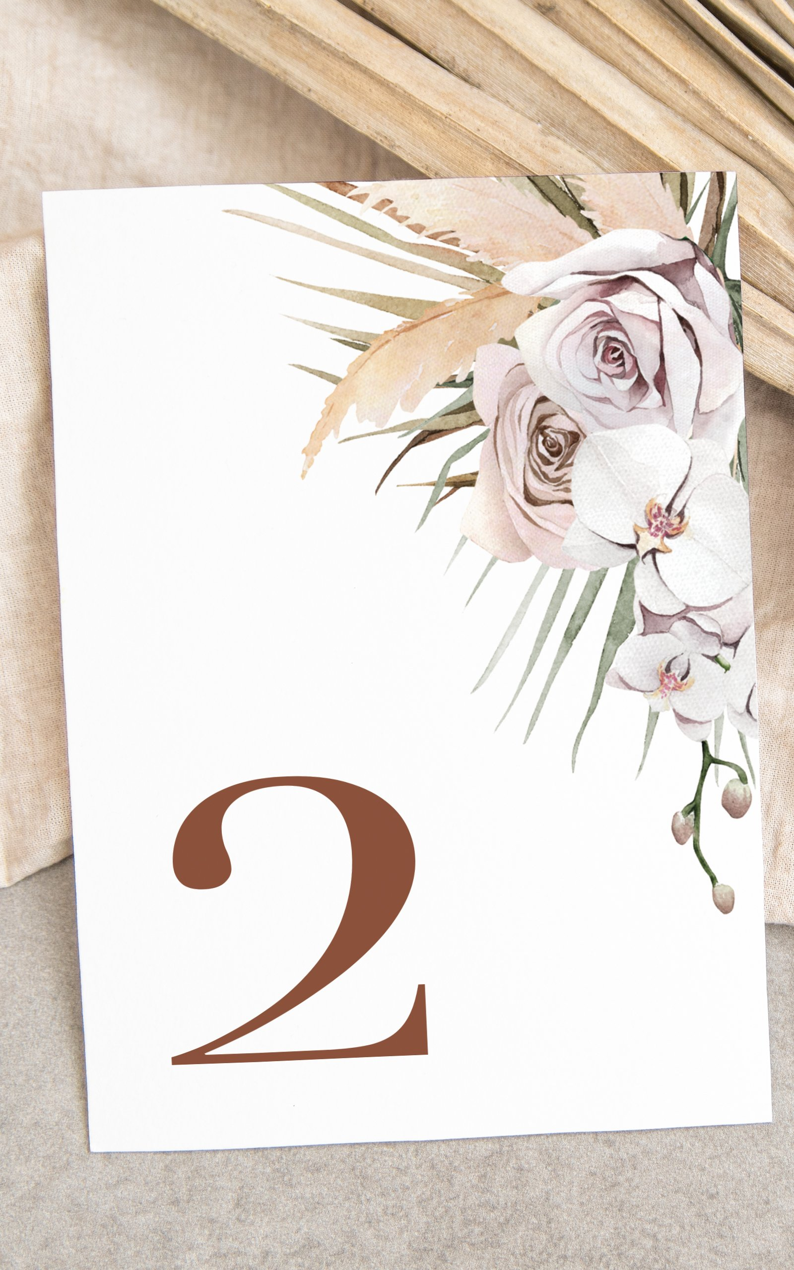 Boho Palm Table Number  Flamboyant Invites